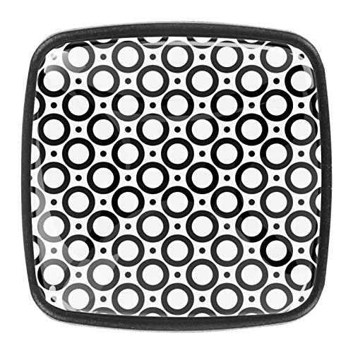 4 pomos cuadrados para aparador – Manija decorativa colorida para cajón con diseño floral para decoración del hogar, perillas y círculos redondos negros