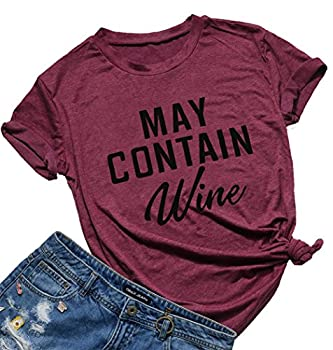 May Contain Wine T Shirt Alcohol Shirts Womens Letter Print Tops Funny Drinking Shirt Casual Short Sleeve Graphic Tees Top  Burgundy L