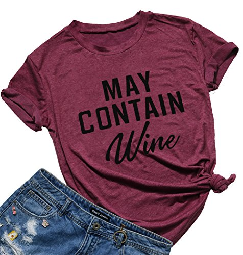 May Contain Wine T Shirt Alcohol Shirts Womens Letter Print Tops Funny Drinking Shirt Casual Short Sleeve Graphic Tees Top (Burgundy, M)