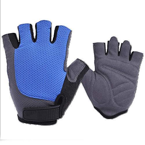 Guantes para montar en primavera y verano con medio dedo para hombres y mujeres, bicicleta de montaña, equipo de equitación con dedos cortos (color: amarillo, tamaño: M) FDWFN (color: azul)
