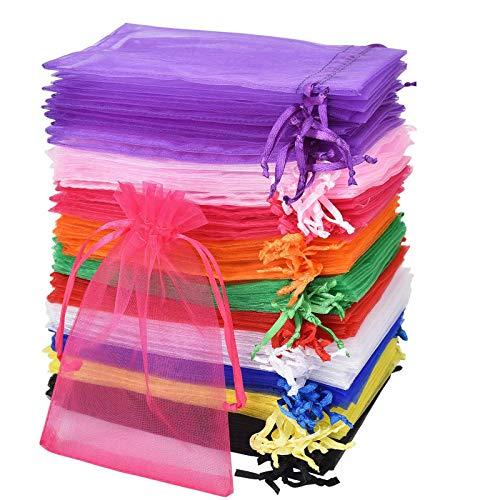 Linkbro 100 Stück Organzasäckchen, Geschenkbeutel Organza 10x15 cm, Schmuckbeutel| Organzabeutel | Hochzeit Säckchen