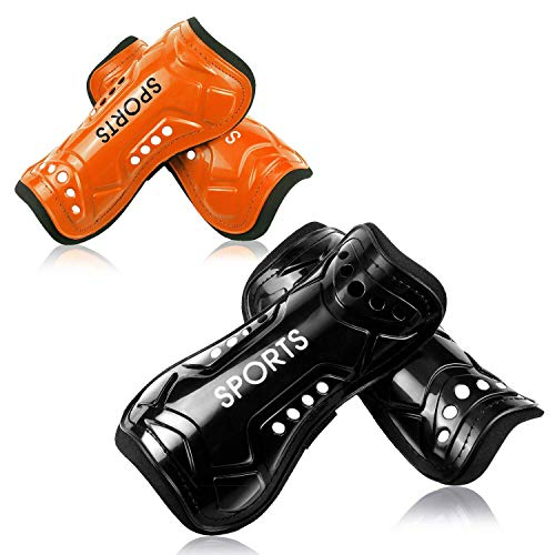 Youth Soccer Shin Guards, 2 Pair Lightweight and Breathable Child Calf Protective Gear Soccer Equipment for 3-10 Years Old Boys Girls Children Teenagers (Orange)