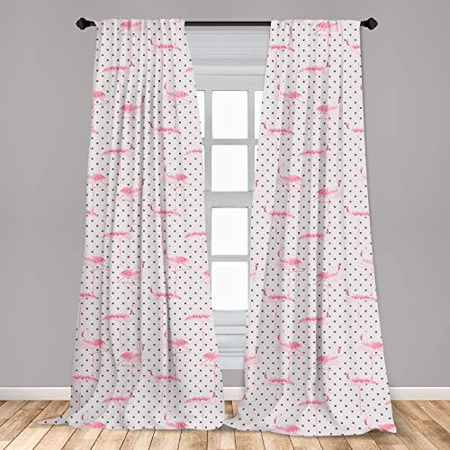 "Ambesonne Retro Window Curtains, Flamingo Birds on Minimalist Polka Dots Background Illustration, Lightweight Decorative Panels Set of 2 with Rod Pocket, 56"" x 63"", Pink White"