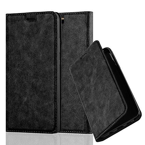 Cadorabo Hülle für Huawei P10 Plus - Hülle in Nacht SCHWARZ – Handyhülle mit Magnetverschluss, Standfunktion & Kartenfach - Hülle Cover Schutzhülle Etui Tasche Book Klapp Style