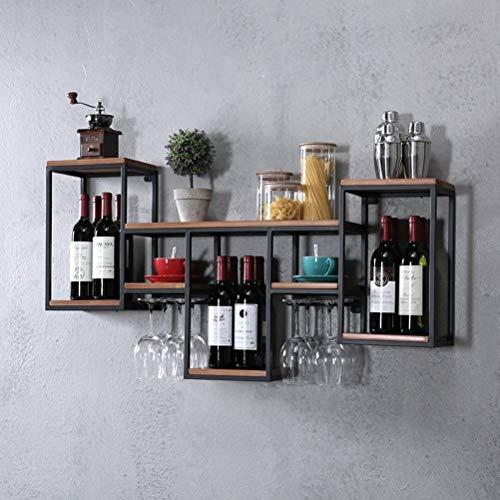 FENGFAN Weinregal mit Glashalter Rack-Wand Retro hängende Weinregal, Eisen, Holz Regal Kreative Restaurant Dekorative Weinklimaschrank (Size : 106x42x20cm)