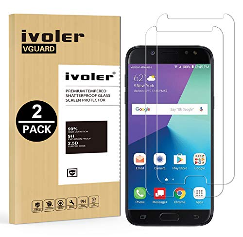 ivoler [2 Unidades] Protector de Pantalla Compatible con Samsung Galaxy J7 2017, Cristal Vidrio Templado Premium [Dureza 9H] [Anti-Arañazos] [Sin Burbujas]
