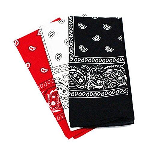 Freessom Lot de 3 Bandana Cheveux Homme Femme Bandeau Visage Soin Coton Fleurs Vintage Echarpe de Cou Foulard Serre Tete Sport Rouge Blanc Noir