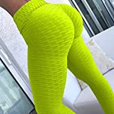 YHWW Leggings,Leggings de Cintura Alta para Mujer Leggings Push up Casual Fitness Workout Bumps Style Pantalones Delgados Spandex Indoor Sport Solid Legging, Fluorescent Green, S