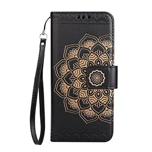 ISAKEN Compatibile con Samsung Galaxy A5 2017 Custodia Cover, Libro PU Pelle Wallet Cover Flip Portafoglio Protezione Custodia con Supporto di Stand/Carte Slot/Strap[Shock-Absorption], Fiori: Nero