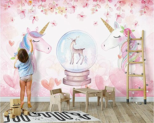Yosot Neue Mode Persönlichkeit Dekorative Malerei Stereo Aquarell Einhorn 3D Tapeten Home...
