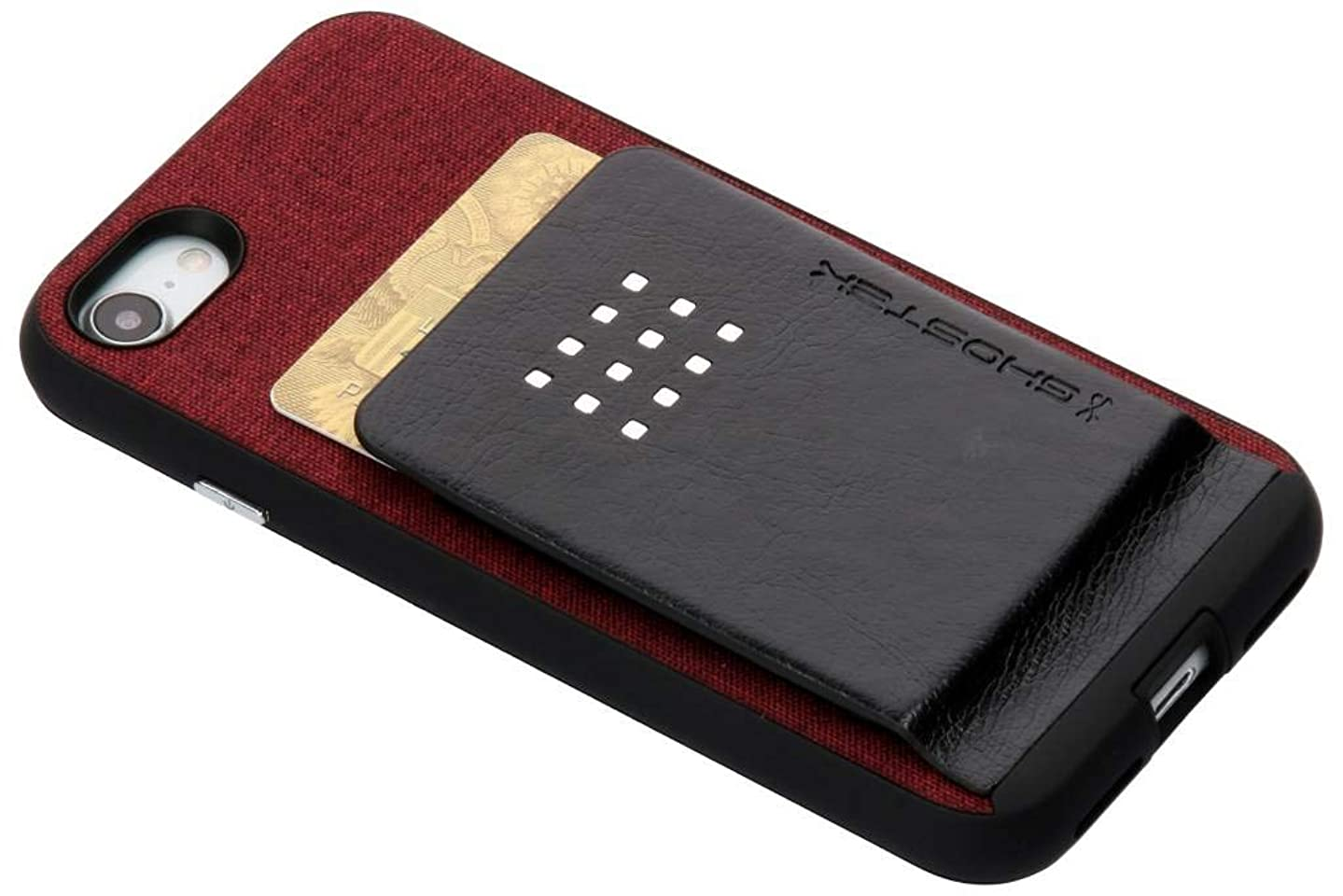 Ghostek Exec2 iPhone 8 Wallet Case Built-in Metal Plate for Magnetic Car Mounts   Red