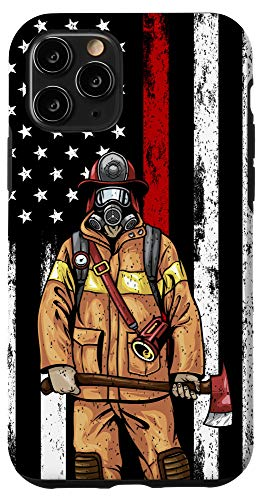 iPhone 11 Pro USA Flag Firefighter Gifts American Fireman US Fire Fighter Case
