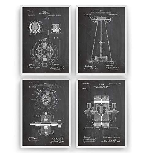 Nikola Tesla Patent Poster - Satz von 4 - Engineer Ingenieurwesen elektrisch Ingenieur Wissenschaft Science Print Mauer Art Kunst Zeichnungen Geschenke - Rahmen nicht enthalten