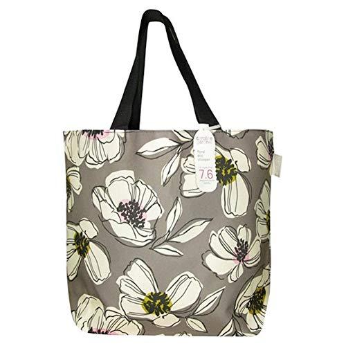 Caroline Gardner Eco Einkaufstasche, Blumenmuster, Grau / Pink
