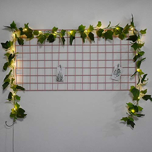 BuyWin Novelty Ivy LED Fairy String Lights Warm White Shine Artificial Leaves Hanging Garland Copper Light Strings for Christmas Wedding Bouquets Party Event Home Decor(Ivy)