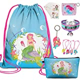 7 PCS Mermaid Birthday gifts for girls-Mermaid Drawstring Backpack,Makeup Bag,Sticker,Keychain,Hair Ties,Coin Purse