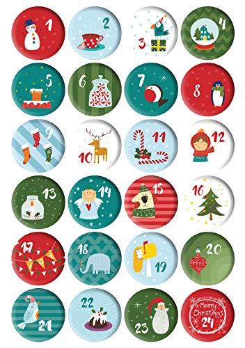 Gallop Chic Schöne Adventskalender Zahlen Buttons Anstecker (Ø 32 mm): Weihnachtsmotive, Zahlen 1 bis 24, Nummern Button Badges für Weihnachtskalendern-Säckchen