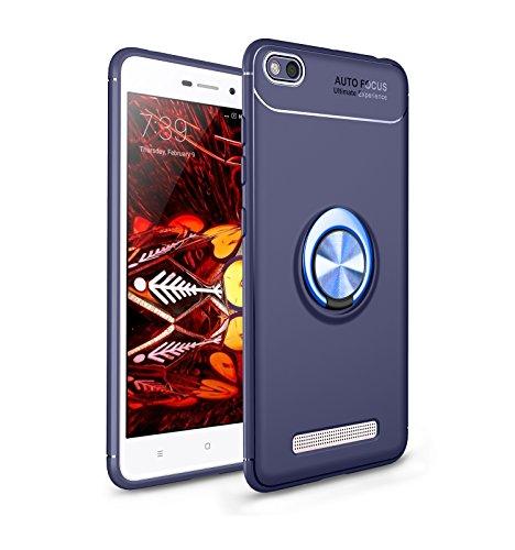 Coque pour Xiaomi Redmi 4A Housses étuis 2 en 1 Antidérapant TPU Silicone Protecteur Souple Ultra-mince Étui Arrière en PC Coque avec Magnétique Métal Anneau Boucle- Bleu et Boucle Bleu