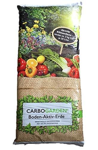CARBOGARDEN 20 l Boden-Aktiv-Erde, Kraftvolle Universalerde mit 10% Pflanzenkohle zur Bodenvitalisierung, für einem aktiven Klimaschutz, Schwarzerde, Typ Terra Preta