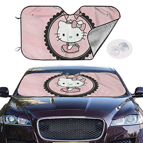 Parasol para parabrisas de coche, color rosa Hello Kitty, protector de protección contra rayos UV, mantiene el vehículo fresco