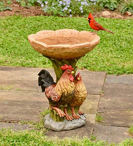 Plow & Hearth Resin Rooster and Chicken Birdbath