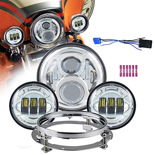 """Akmties Motorcycle 7"""" LED Headlight Projector Compatible for Motorcycle Road King, with 4.5 inch LED Passing Lamps Fog Lights + Bracket Mounting Ring (Chrome)"""