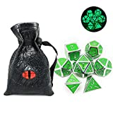 Haxtec Glow in The Dark Glowing Green Silver Metal Dice Set W/ Dragon Dice Bag D&D for Dungeons and Dragons RPG Games-Glossy Enamel Dice (Silver Glowing Green-V2)