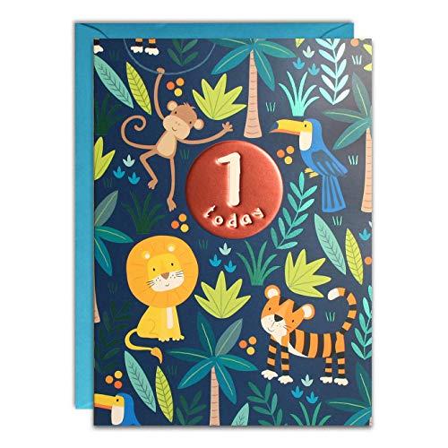 James Ellis HC3137 Geburtstagskarte zum 1. Geburtstag, Motiv Dschungel, Blau