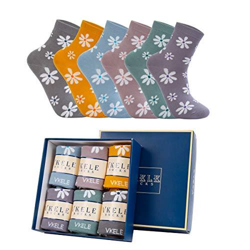 Vkele Damen Socken in Geschenkverpackung Kamille bunte socken Knöchelsocken 35-38 süße socken orange rose pink grau grün blumen farbige socken 6 Paar
