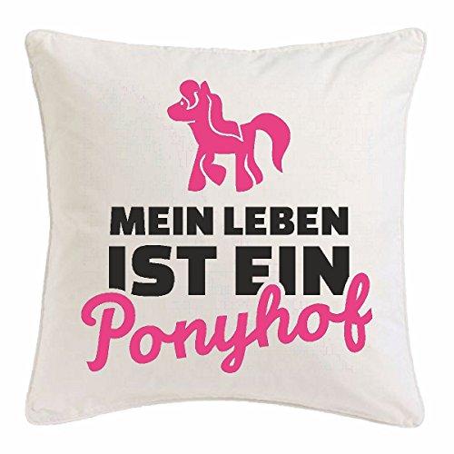 Reifen-Markt Funda de cojín (40 x 40 cm), diseño con texto en alemán 'Mein Leben ist ein Ponyhof', color blanco