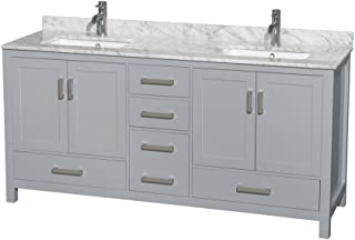 Wyndham Collection Sheffield 72 inch Double Bathroom Vanity in Gray, White Carrara Marble Countertop, Undermount Square Sinks, and No Mirror