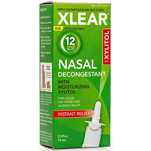 Xlear 12-Hour Decongestant Nasal Spray with Oxymetazoline & Xylitol, Instant Relief All-Natural Saline Nasal Spray for Severe Sinus Pressure, Congestion & Headaches (0.5 fl oz)
