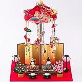 リュウコドウ 雛人形 卓上吊るし輪かざり わらべ雛 間口30cm x奥行25cm x 高さ37cm