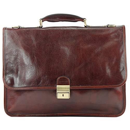 modamoda de - A002 - ital. Business Laptop Akten Tasche Leder, Farbe:Braun