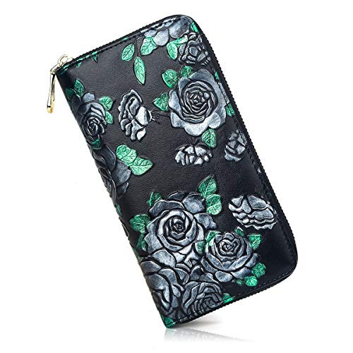 MEITRUE Women's Genuine Leather Vintage Clutch Mobile Phone Purse Women Purse Zipper 8 Slots RFID Protection Wallet Exquisite Embossing Card Holder Girls