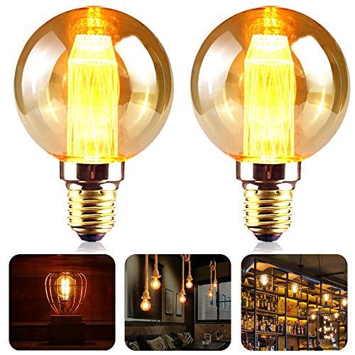 Edison Vintage Glühbirne E27, SANBLOGAN LED Retro Glühbirne G80 3W Kristall Filament Warm Amber Vintage Stil Leuchtmittel Ideal für Haus Café Bar Restaurant Weihnachten Antike Dekoration Beleuchtung