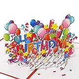 Favour Pop Up - Biglietto di auguri di compleanno con copertina rossa. All'apertura si apre una colorata 'Happy Birthday' TB127