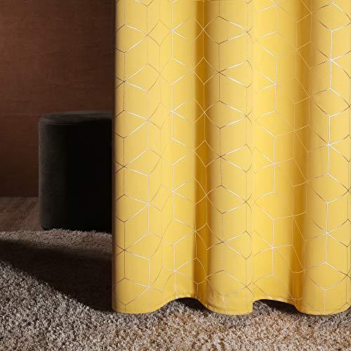 Deconovo Verdunkelungsvorhänge Ösen Vorhang Muster Wohnzimmer Thermogardinen Blickdicht 229x168 cm Senfgelb 2er Set