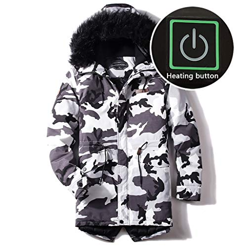 LXPDJ Heren Overjas Outdoor Met Bontkraag Verwarmde Overjas, Camouflage Jas Met Afneembare USB Elektrische Verwarmde Hooded Coat