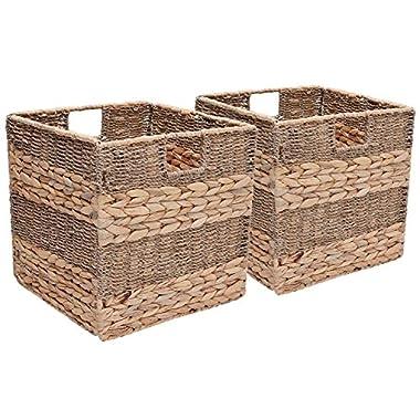 StorageWorks Seagrass & Hyacinth Storage Woven Basket With Iron Wire Frame, Foldable Storage Baskets Organizer, Medium,10.6 x10.6 x11 , 2-Pack