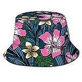 Gorro de pescador unisex de la UE, con fondo de flores polinesias, sombreros de pescador para verano, al aire libre, plegable, para viajes, playa, sol, color negro
