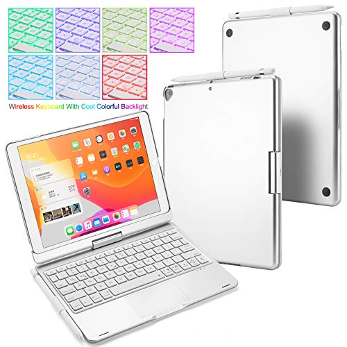 Huafly iPad Keyboard Case for 2020 iPad 10.2 (8th Gen), 2019 iPad Air 10.5, Backlit Keyboard with Touchpad, Wireless Bluetooth 360 Rotatable Case for 10.2/10.5 inch Tablet (Silver)