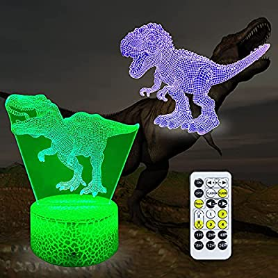 Amazon - 55% Off on Dinosaur Toys 16 Colors Children 3D Illusion Bedside Lamp Remote Control