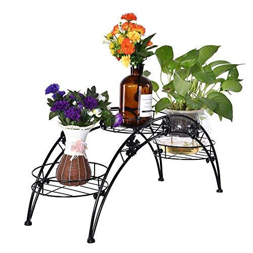 GHJA Estante de Soporte para Plantas para Flores y Plantas, Estante de Hierro para Flores para 3 macetas, Jardinera de Arco de Flores con Escalera, Jardinera Decorativa para Interiores y Exterior