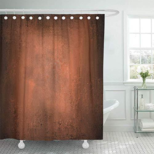 QYGA-3BU Duschvorhang gehämmert abstrakt orange braun Vintage warmen Herbst Kupfer schwarz Duschvorhänge Sets mit 12 Haken 60 x 72 Zoll