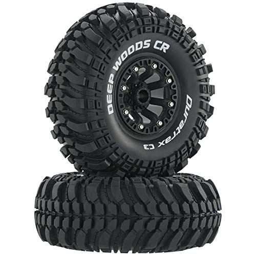 DuraTrax Deep Woods 2.2 Inch RC Rock Crawler Tires with Foam Inserts, C3 Super Soft Compound, High Traction, Mounted on Black Wheels, (Set of 2)