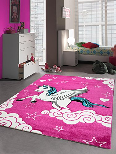 Kinderteppich Spielteppich Kinderzimmer Teppich Einhorn Design mit Konturenschnitt Pink Creme...