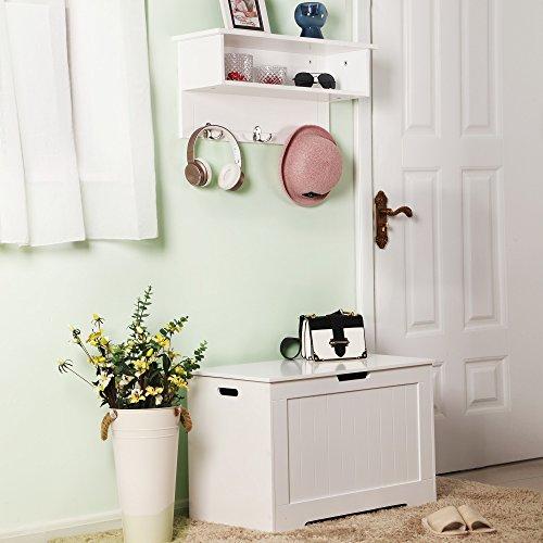 VASAGLE Spielzeugkiste Truhe Bank Stauraum Sitztruhe Sitzbank Aufbewahrungstruhe mit großer Kapazität weiß , Holz, 76 x 48 x 40 cm (B x H x T) LHS11WT - 4