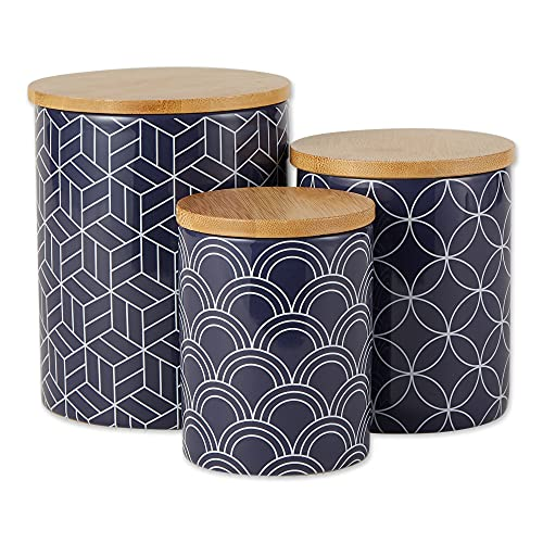 DII Kitchen Ceramics Collection, Canister Set, Mixed Print, Nautical Blue,...