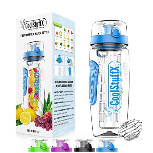 Coolstuffx 3-in-1 Fruit Infuser water bottle + protein shaker. Long Infuser rod + Large 1 litre or 32oz + motivational time-guide, BPA-Free, no-leak.Anti-condensation sleeve, FREE Recipe eBook.BLUE